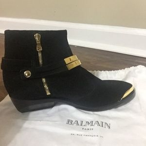 New Black Suede Balmain Booties w/ Gold Accents